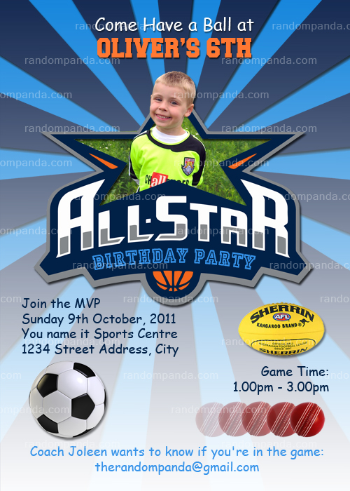 All Star Sports Invitation, Basketball Invite, Football Party, Cricket Invitation