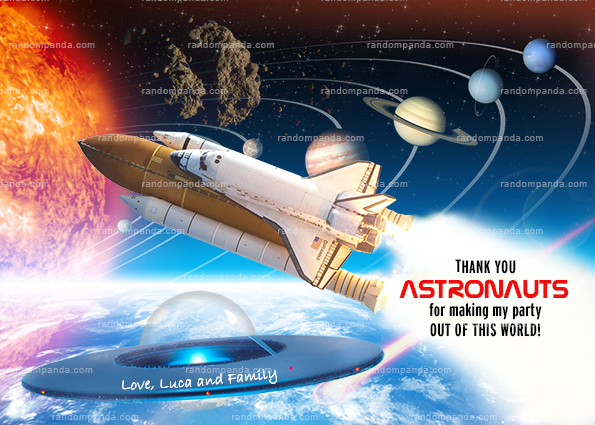 Astronaut Thank You Card, UFO Party Thanks Note