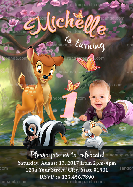 Bambi and Thumper Invitation, Personalize Pink Baby Deer Birthday Party Invite