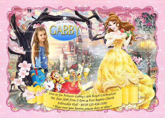 Belle invitation disney princess party belle birthday invite filmwisefo