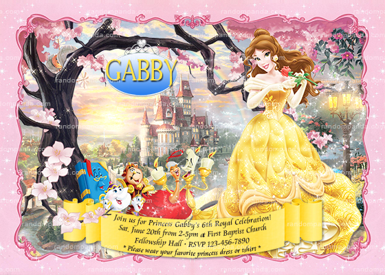 Belle invitation pink princess party princess belle birthday invite filmwisefo
