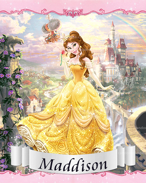 Personalize Kids Poster, Princess Belle Poster, Beauty and the Beast Party Wall Art