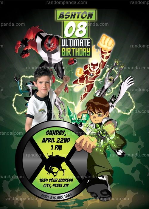Personalize Ben 10 Invitation, Ben 10 Party, Ben 10 Invite