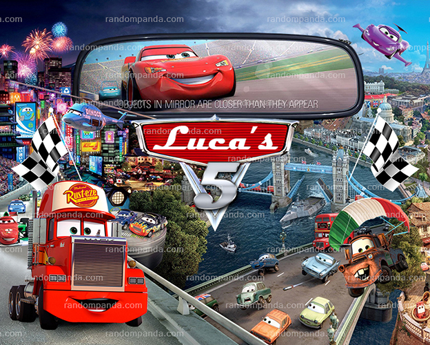 Personalize Kids Poster, Disney Cars Poster, McQueen Party Wall Art