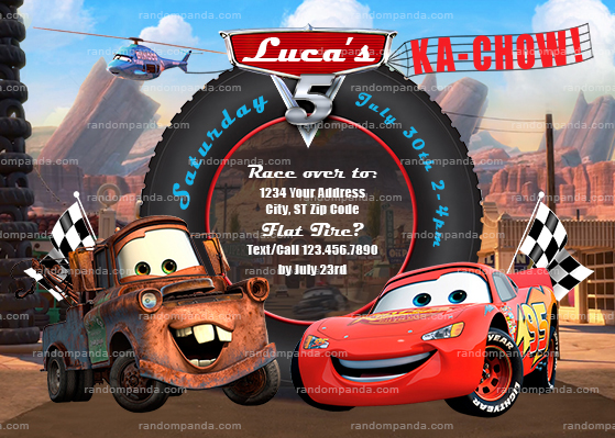 Cars Invitation Lightning McQueen Party Mater Invite