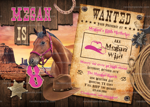 Cowgirl Invitation, Pink Western Party, Wild West Horse Birthday Invite