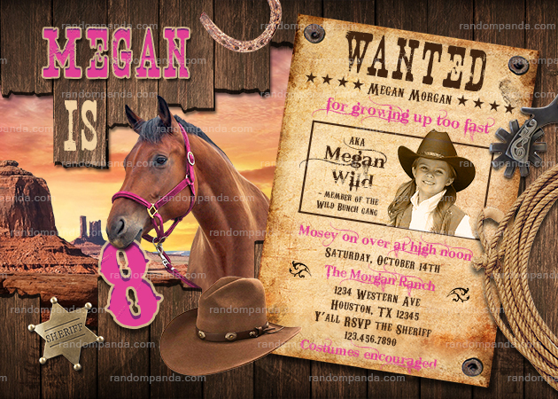 Personalize Cowgirl Invitation, Pink Western Wanted Party, Wild West Horse Invite