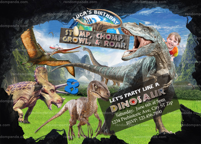Dinosaur Invitation Ride T Rex Birthday Invite Jurassic World Party