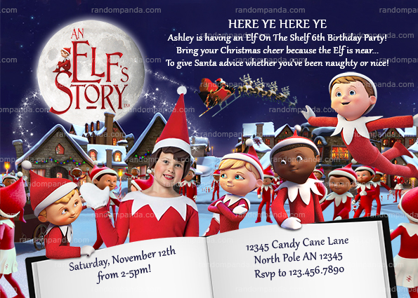 Personalize Elf on the Shelf Invitation, An Elf's Story Invite, Christmas Elves Party