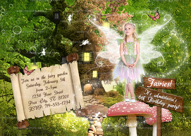 Personalize Pink Fairy Invitation, Fairy Costume Party, Enchanted Forest Invite