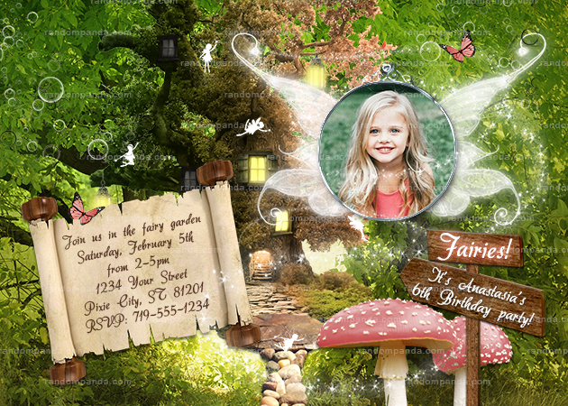 Personalize Pink Fairy Invitation, Fairytale Party, Enchanted Forest Invite