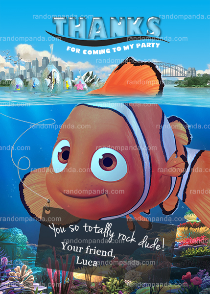 Personalize Finding Nemo Invitation, Turtle Party, Dory Birthday Invite