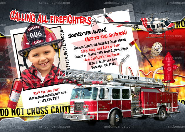 Party Fireman Invitation Fire Truck Birthday ADD Helmet – Fire Truck Birthday Invitation