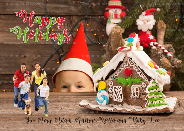 Personalize Gingerbread House Christmas Card, Funny Running from Family Member