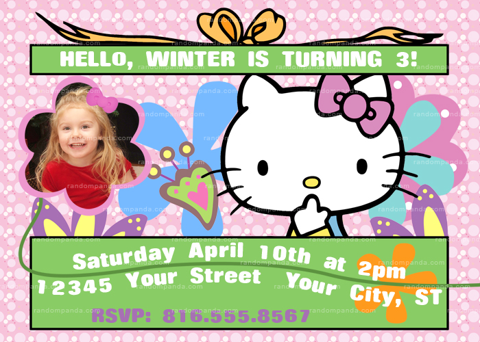 Hello Kitty Invitation, Hello Kitty Party, Hello Kitty Birthday Invite