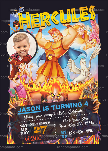 Personalize Hercules Invitation, Hades Party, Hercules Birthday Invite