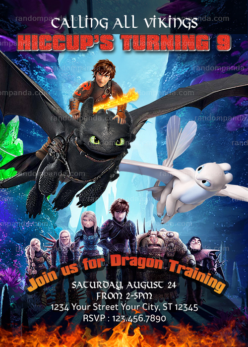 How to Train Your Dragon Invitation, Vikings Birthday Party Invite