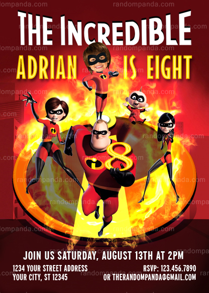 The Incredibles Thank You Card, Superhero Party, Dash Incredible Thanks Note