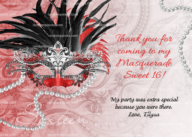 Masquerade Ball Invitation, Sweet 16 Party, Masquerade Invite, Red and Black Quinceanera