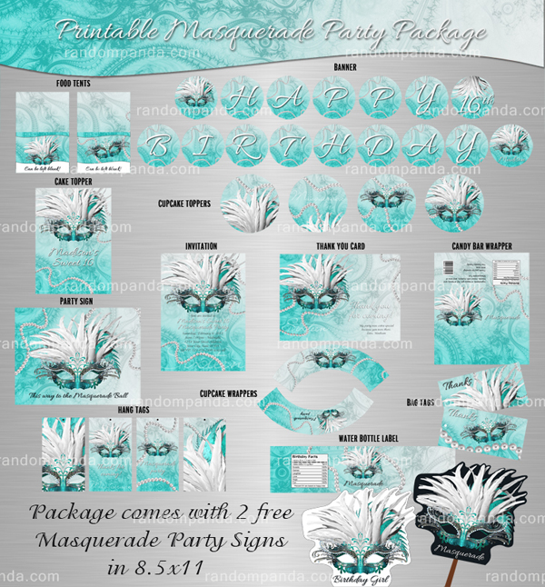 Masquerade Party Package, Teal Mask, and Pearls Birthday Bundle