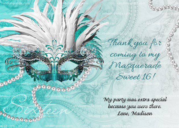 Masquerade Ball Invitation, Sweet 16 Party, Masquerade Invite, Teal