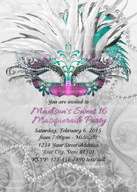 Masquerade Ball Invitation, Sweet 16 Party, Masquerade Invite, Pink Quincea?era