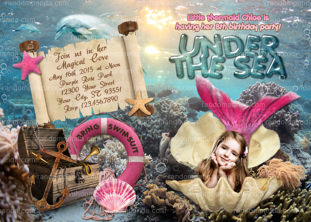 Mermaid Invitation, Under the Sea Party, Hot Pink Mermaid Invite