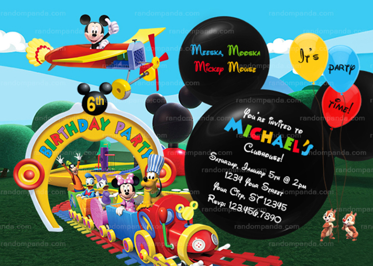 Mickey Mouse Ride the Train Invitation, Mickey Mouse Plane Party Invite