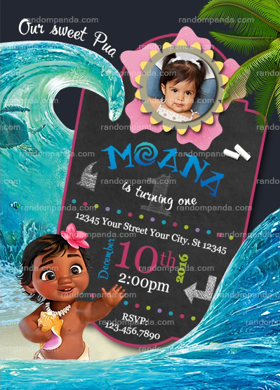 Personalize Baby Moana Invitation Birthday Party Invite