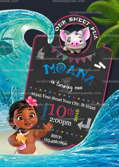 Baby Moana Invitation Birthday Party Invite