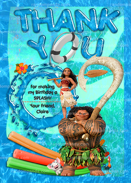 Disney Moana Invitation Maui Swimming Pool Party Birthday Invite