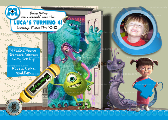 DIY Monsters Inc Invitation, Girls Monsters Inc Party, Monsters Inc Invite
