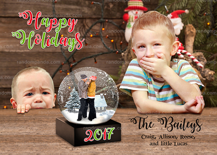 Personalize Funny Parents Freezing in a Snow Globe Christmas Card