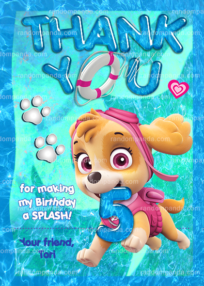 Skye Birthday Invitation Paw Patrol Pool Party Invite