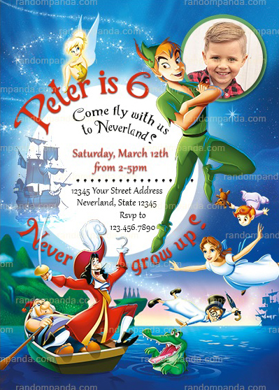 Personalize Peter Pan Invitation, Captain Hook Party, Peter Pan Invite