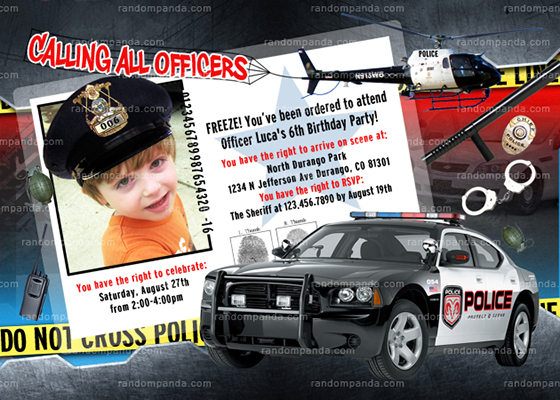 Personalize Police Invitation, Add Police Officer Hat, Policeman Party