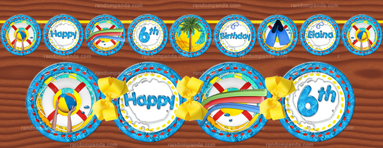 DIY Swimming Pool Party Banner, Beach Birthday Party Banner