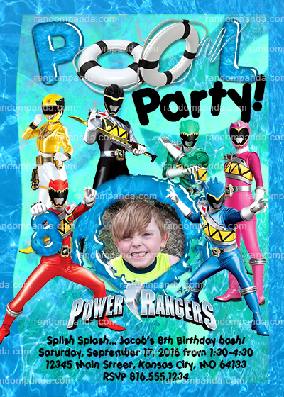 Personalize Rangers Birthday Invitation Pool Party Invite
