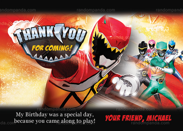 Power Rangers Thank You Card Power Ranger Birthday Party Thanks Note