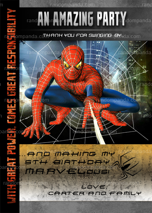 Amazing Spiderman Invitation, Spiderman Invite, Spiderman Party