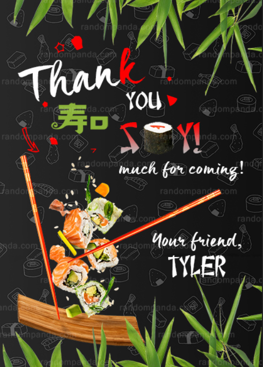 Sushi Invitation, Sushi Birthday Party Invite