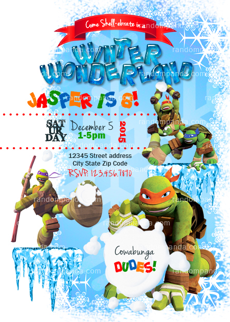 Winter Wonderland invitation Teenage Mutant Ninja Turtles Party
