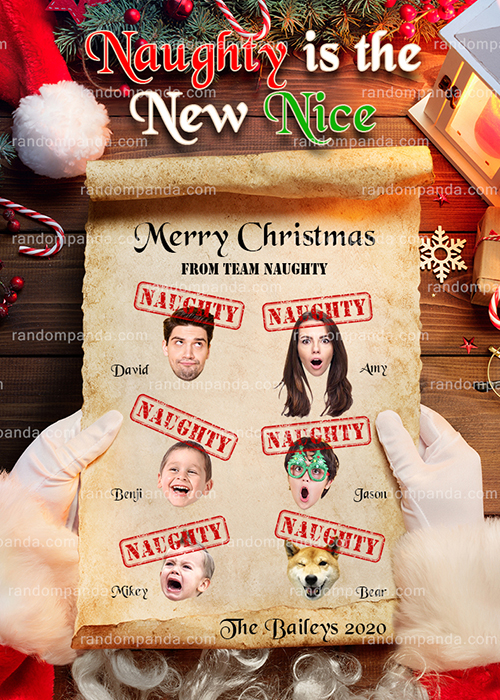 Funny Christmas Card, Naughty is the New Nice Holiday Greeting