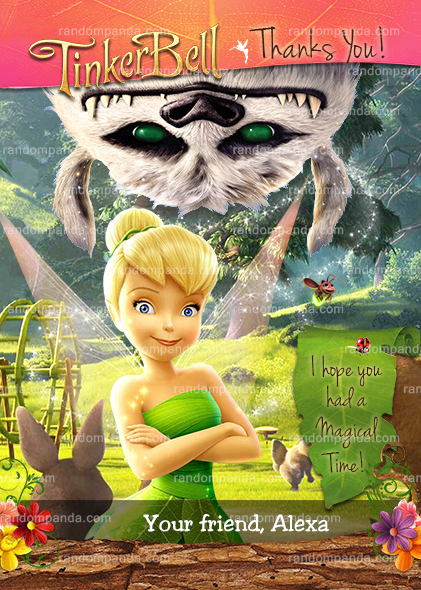 Tinkerbell and the Neverbeast Thank You Card, Tinkerbell Party Thank you Note