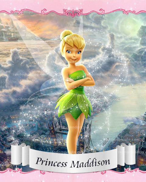 Personalize Kids Poster, Tinkerbell Poster, Fairy Party Wall Art