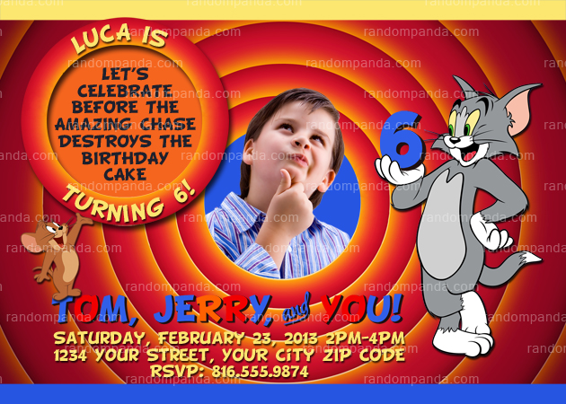 Tom and Jerry Invitation, Tom and Jerry Party Invite