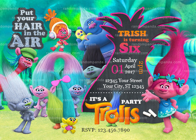 Trolls Thank You Card, Poppy and Branch Party, Trolls Birthday Thanks Note