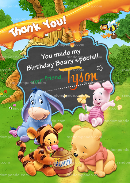 Personalize Winnie and the Pooh Baby Invitation, Tigger Party Invite