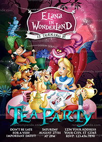 Alice in Wonderland Invitation, Tea Party, Alice Birthday Invite
