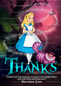 Alice in Wonderland Thank You Card, Tea Party, Alice Birthday Thanks Note